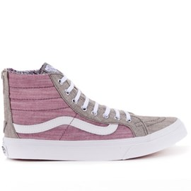 Tênis Vans SK8 Hi Slim Zip Floral Chambray Gray True White VN-0XH8IE0